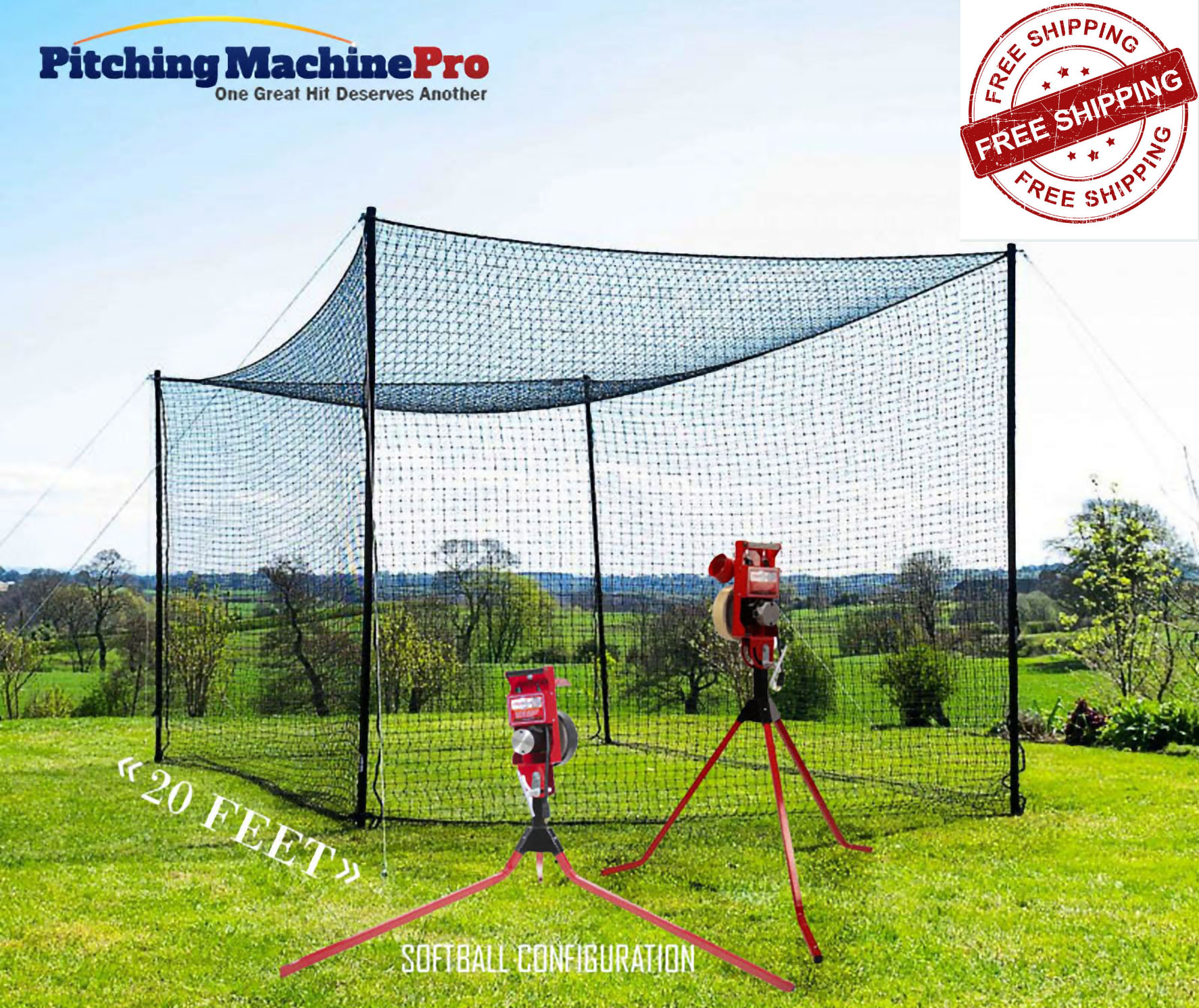 First Pitch Relief Pitching Machine + Batting Cage